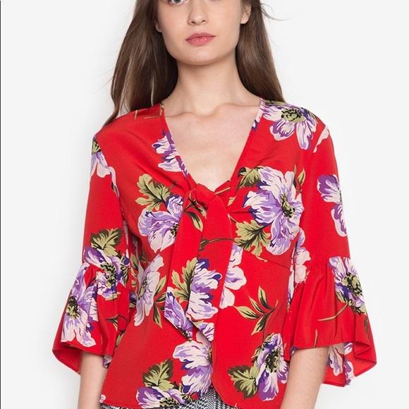 Topshop Floral Print Blouse size 4